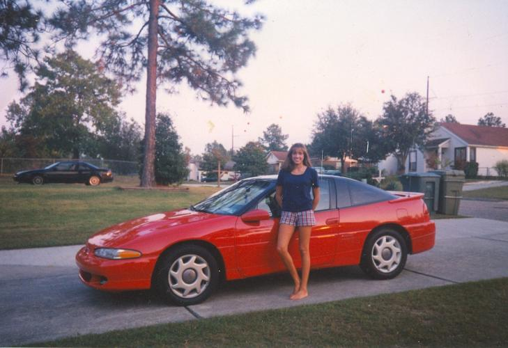 Amy with her first car, also a Talon: 1997